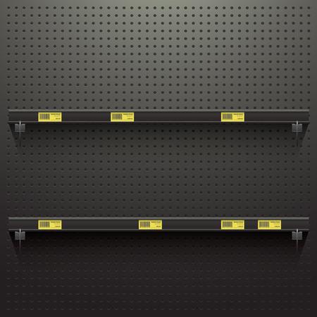 Pegboard oscuro en el taller Fondo con estantes y etiquetas de precio