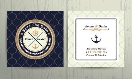 at anchor: Boda cuerda n�utica la tarjeta de fecha en el fondo de rejilla Vectores