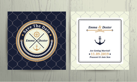 anchor: Nautical rope wedding save the date card on fishnet background