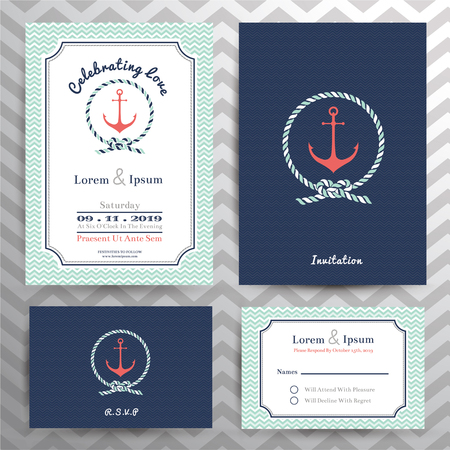 Nautical wedding invitation and RSVP card template set in anchor and rope design element. 版權商用圖片 - 42076363
