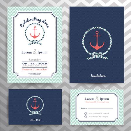 felicitaciones: Plantilla náutico invitación de la boda y de la tarjeta de RSVP fijado en el ancla y la cuerda elemento de diseño.