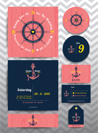 Nautical wedding invitation and RSVP card in anchor rope design template set on pink wood background