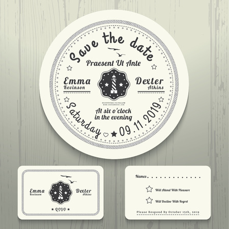 anchor man: Nautical wedding white invitation and RSVP round rope card template set Illustration