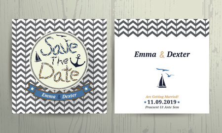 Nautical wedding save the date rope letter card on chevron pattern background Vectores