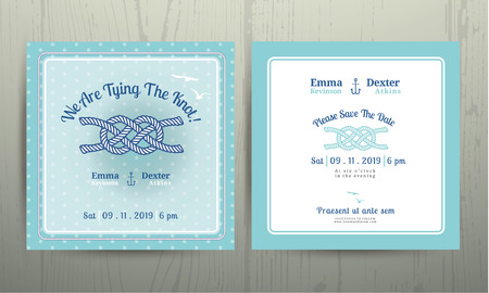 navy blue background: Nautical anchor rope tying the knot wedding card on polka dot pattern cyan background