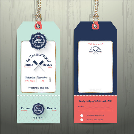 Nautical hanging tag wedding invitation and RSVP card  with fishnet rope design on wood background Vectores