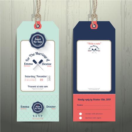 nudos: Invitaci�n de la boda n�utico etiqueta colgante y tarjeta de RSVP con dise�o de la cuerda de rejilla sobre fondo de madera