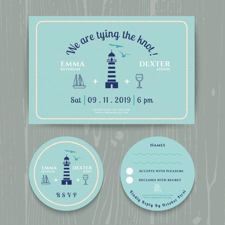 rsvp: Nautical light house wedding invitation and RSVP card template set on wood background Illustration