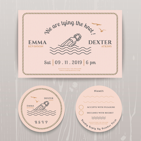 rsvp: Nautical message in the bottle wedding invitation and RSVP card template set on wood background