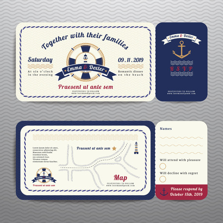 Nautical ticket wedding invitation and RSVP card  with anchor rope design on wave background Vettoriali