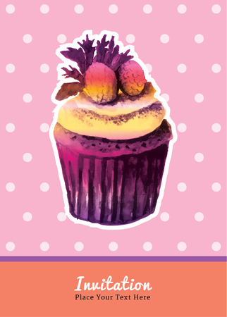water colour: Vintage cupcake with strawberry topping invitation water colour on pink polka dot background Illustration