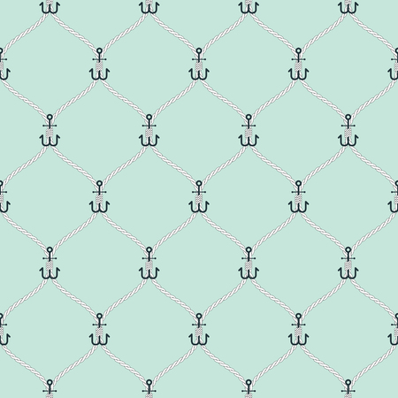 light blue: Nautical rope and small anchors seamless fishnet pattern on light blue background