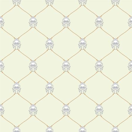 fishing net: Nautical rope and tied Kraken seamless fishnet pattern on beige background Illustration