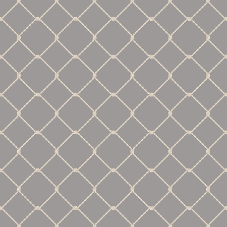 Nautical rope seamless fishnet pattern on gray background Vectores
