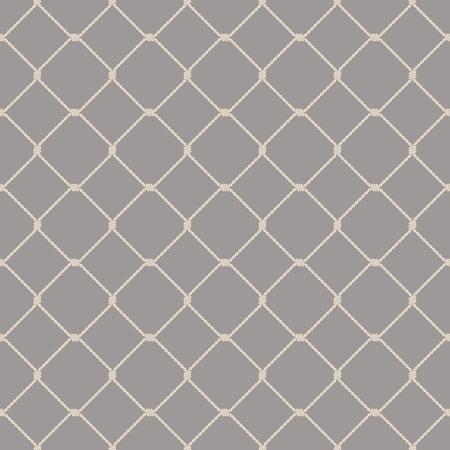 Nautical rope seamless fishnet pattern on gray background Stock Illustratie