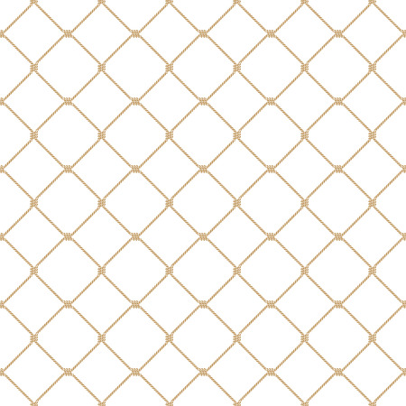 Nautical rope seamless tied gold fishnet pattern on white background Vettoriali