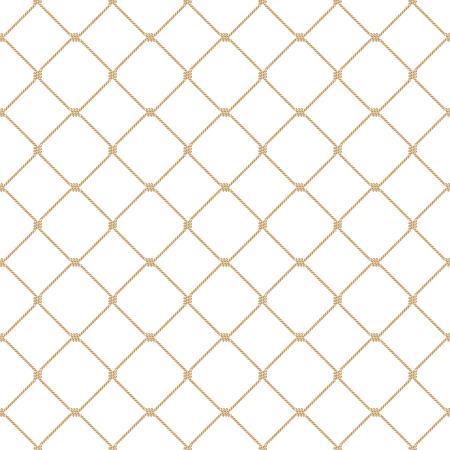 Nautische touw vastgebonden naadloze gouden visnet patroon op witte achtergrond
