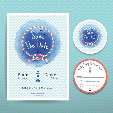 ANCLA: Cuerda n�utica invitaci�n de la boda del color de agua y RSVP ahorran la tarjeta de fecha conjunto de plantillas