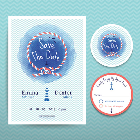 nautical pattern: Nautical rope water colour wedding invitation and RSVP save the date card template set