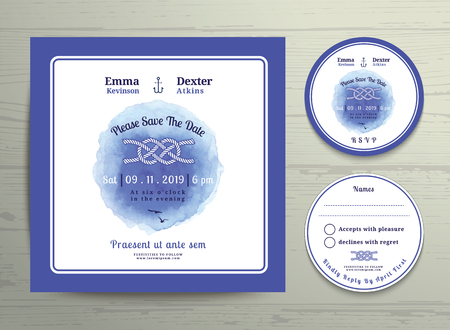 rsvp: Nautical tying the knot water colour wedding invitation and RSVP card template set on wood background Illustration