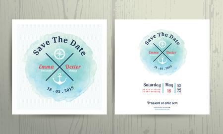felicitaciones: Náutico plantilla de tarjeta de invitación de la boda del color de agua situado en el fondo de madera