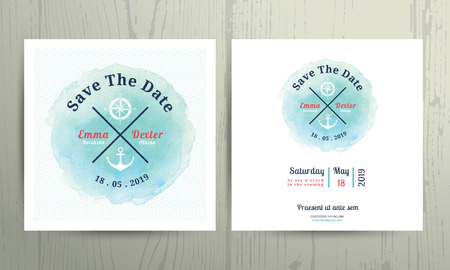 nautical: Nautical water colour wedding invitation card template set on wood background