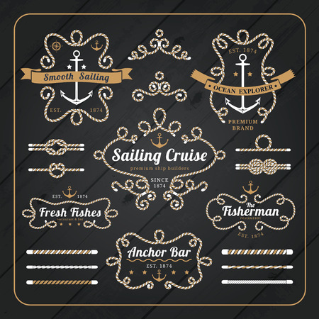 Vintage nautical rope frame labels set on dark wood background with rope brushes Vectores