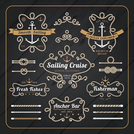 Vintage nautical rope frame labels set on dark wood background with rope brushes Stock Illustratie
