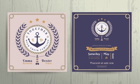 ropes: Vintage nautical wreath and rope frame wedding invitation card template on wood background