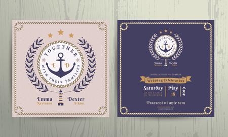 ancre marine: Vintage nautique couronne et le cadre de la corde de mariage modèle de carte d'invitation sur fond de bois
