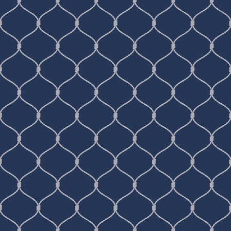 fishnet: Nautical rope seamless tied fishnet pattern on dark blue background Illustration