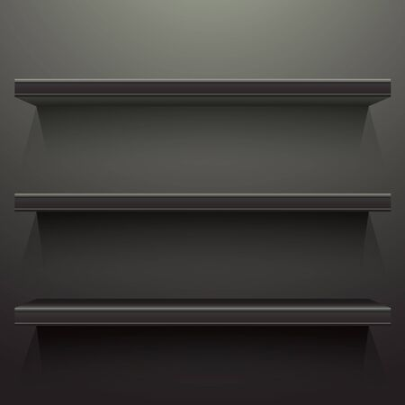 shelf: Dark background shelves with light from the top