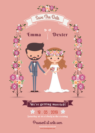 Rustic bohemian cartoon couple wedding card on pink background Çizim