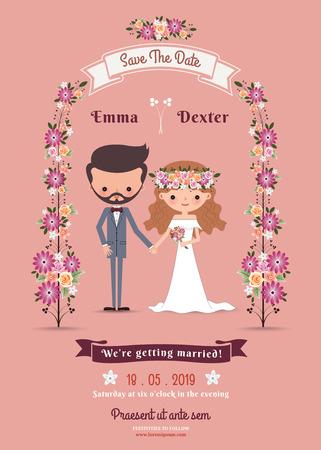 mariage: Rustique bohème carte de mariage couple de bande dessinée sur fond rose Illustration