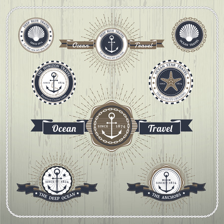 ship anchor: Nautical anchor travel labels with ray burst and ribbon on wood background Illustration