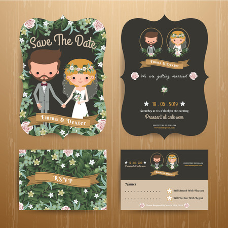 sweet couple: Rustic bohemian cartoon couple wedding card template set on wood background