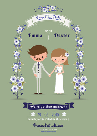 Rustic cartoon couple wedding card on green background Vectores