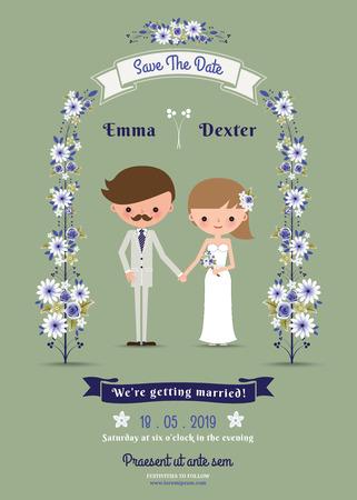Rustieke cartoon paar bruiloft kaart op groene achtergrond