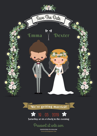 Rustic hipster romantic cartoon couple wedding card on dark gray background Vectores
