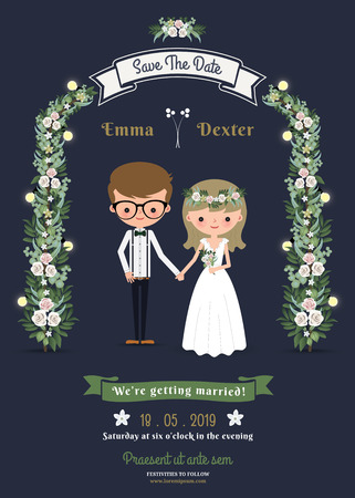 Rustic romantic cartoon couple wedding card on dark blue background. Stock Photo
