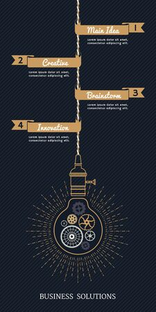 solutions: Vintage bulb business solutions with ribbons on striped background Illustration