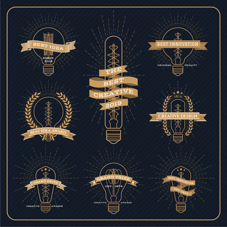 bulb light: Vintage bulb creative and idea award label with ray burst on dark striped background
