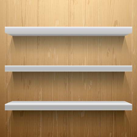 expansive: White shelves on wood background with light from the top