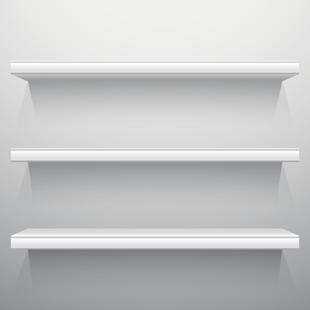 workshop: White background shelves with light from the top