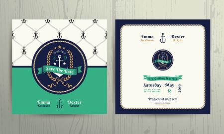 Vintage nautical anchor wreath wedding invitation card template on wood background Vettoriali