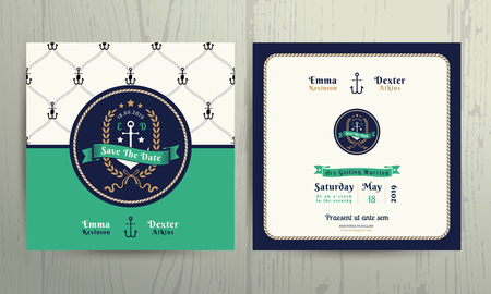 Vintage nautical anchor wreath wedding invitation card template on wood background Vectores