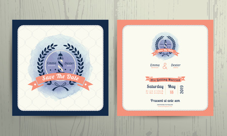nautical star: Vintage nautical lighthouse wreath wedding invitation card template on wood background Illustration