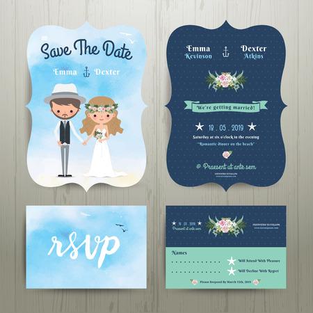 Bohemian cartoon couple on the beach wedding card template set on wood background