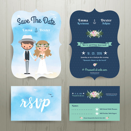 cartoon bouquet: Bohemian cartoon couple on the beach wedding card template set on wood background