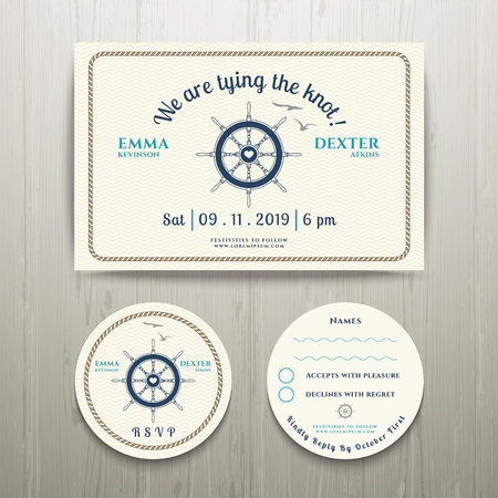 Nautical we are tying the knot wedding invitation and RSVP card template set on wood background Illustration